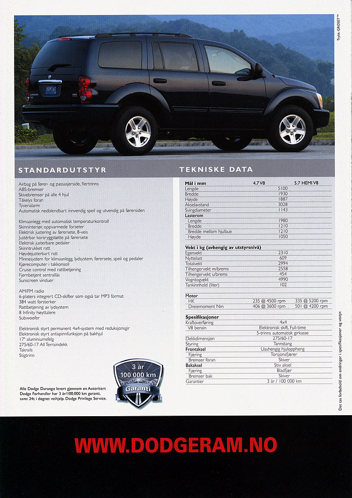 Dodge Durango 2005 >> Auto Brochures