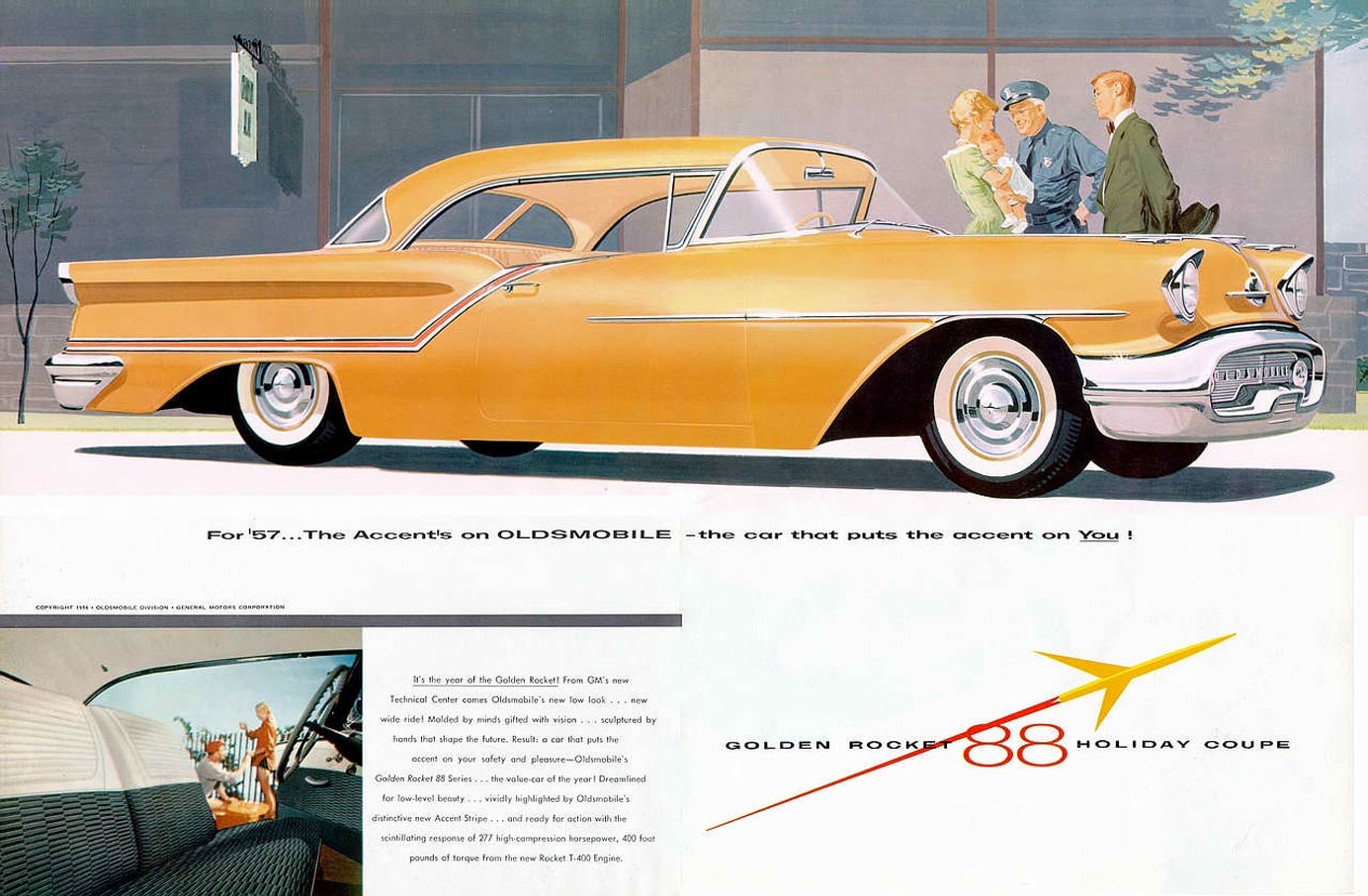 Accent On You 1957 Oldsmobile Golden Rocket 88 Chevrolet Sales Brochure Oldsmobiles For Proclaimed The Car That Puts Referencing Colored Stripe Separating Two Tone Body